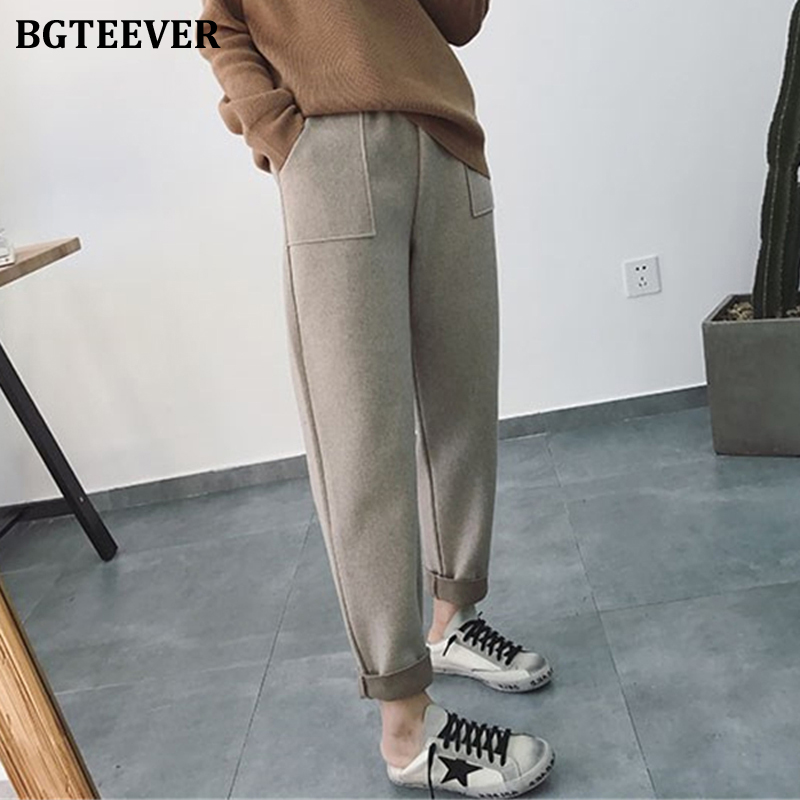 BGTEEVER Autumn Winter Thicken Pants Women Elastic Waist Pockets Woolen Female Pencil Pant 2019 Elegant Warm Trousers Femme
