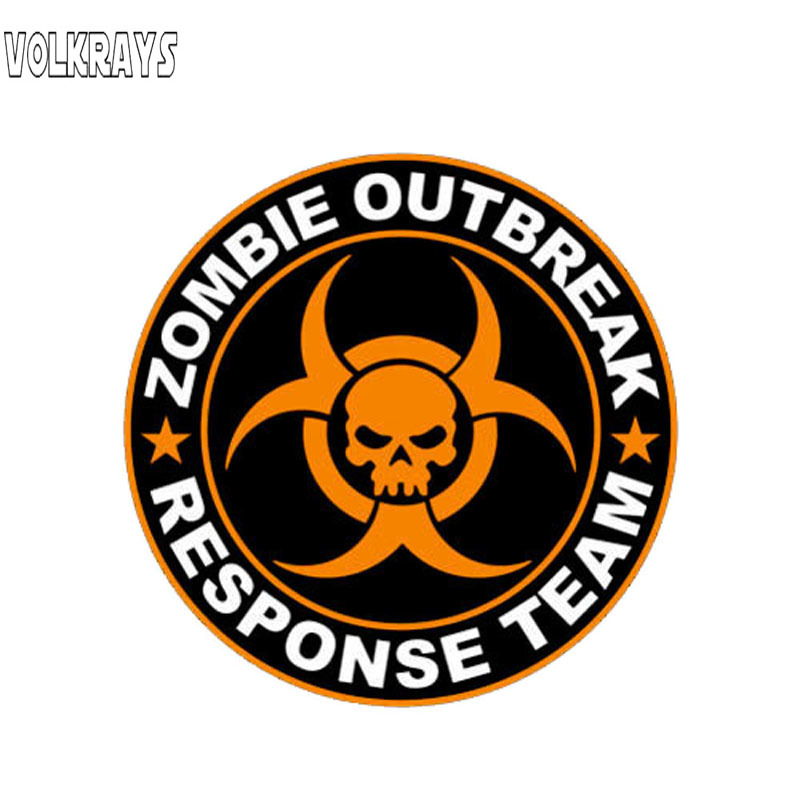 Volkrays Creative Car Stickers Zombie Outbreak Response Team Orange Accessories Warning PVC Decal For Mitsubishi Lada,9cm*9cm