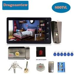 Dragonsview 7 Cal wideodomofon z monitorem i zamek elektroniczny odblokuj przewodowy dzwonek domowy domofon dzień nocny widok