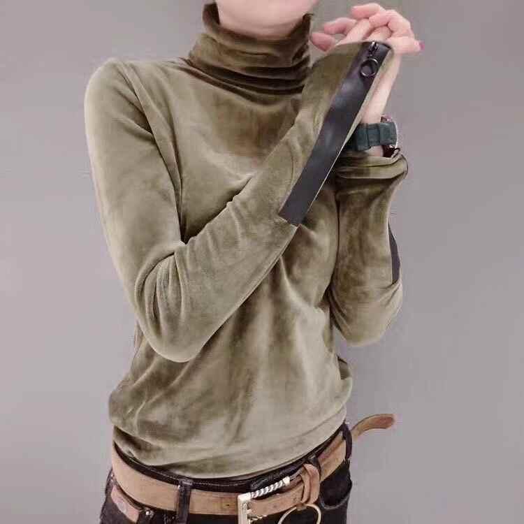 תחנות אירופאיות סתיו וחורף חם קטיפה צווארון גבוה צווארון גידור wild חולצה ארוך שרוול נקבה UT141