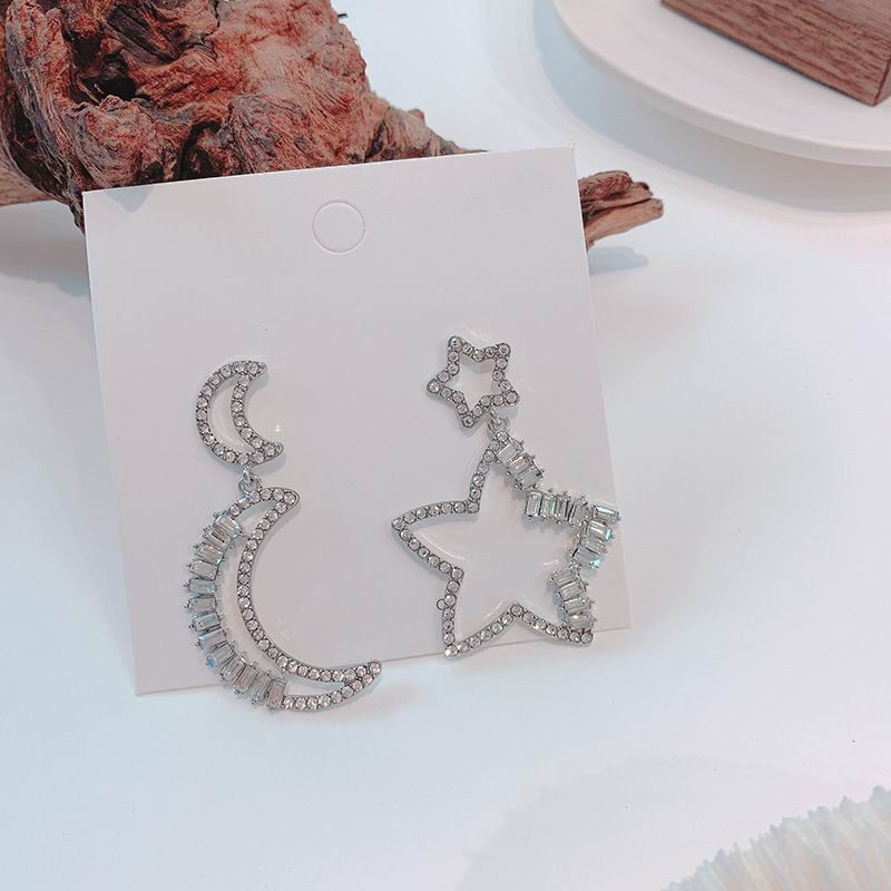 Statement Big Hollow Out Star Moon Earrings With Shinning Zircon For Women Ab Drop Earrings Fashion Jewelry Korean Personality