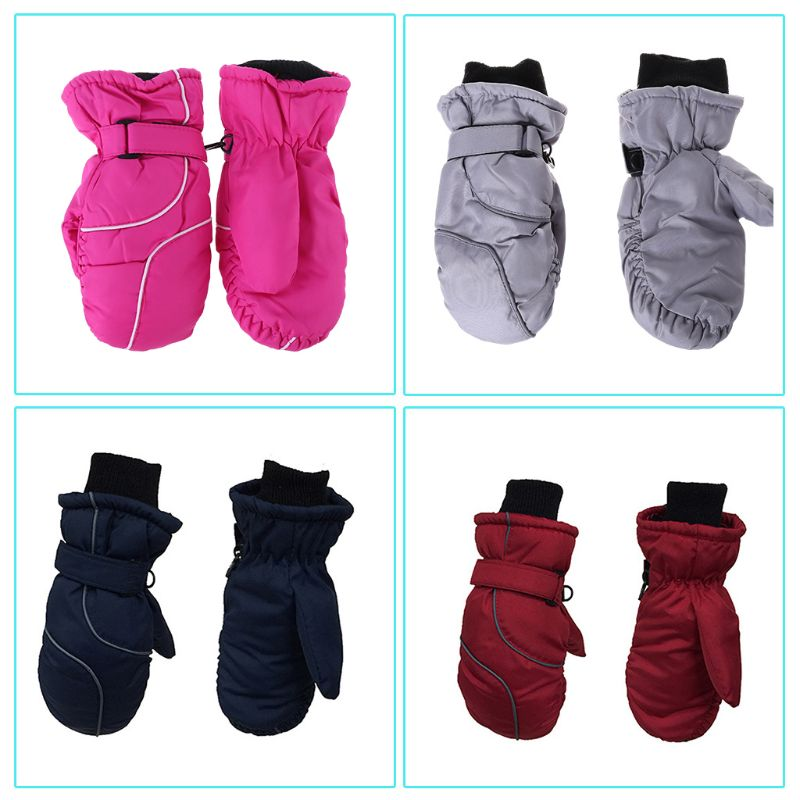 Toddler Kids Winter Snow Ski Gloves Waterproof Windproof Solid Color Patchwork Thicken Warm Adjustable Stretchy Mittens 5-9T
