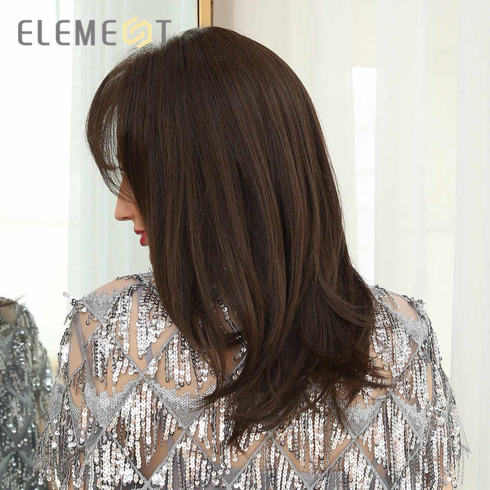 Elemen Medium Panjang Sintetis Lurus Alami Wig dengan Sisi Poni Tahan Panas Wig Pesta untuk Putih/WANITA HITAM