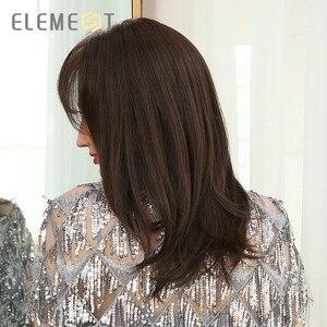 Image 5 - Perruque synthétique lisse mi longue avec frange latérale, résistante à la chaleur pour femmes blanches et noires, élément