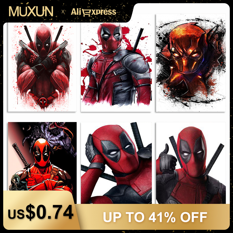 Marvel Heroes Deadpool Diamond Embroidery Diy Diamond Painting Mosaic 5D Cross Stitch Painting By Numbers Sticker Handmake Jq295(China)