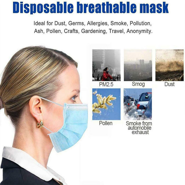 Antivirus 3 Layers Face Mask Disposable Non Woven Filter Protection Anti Dust Spray Bacteria Flu Virus Safety Earloop Gas Masks 3