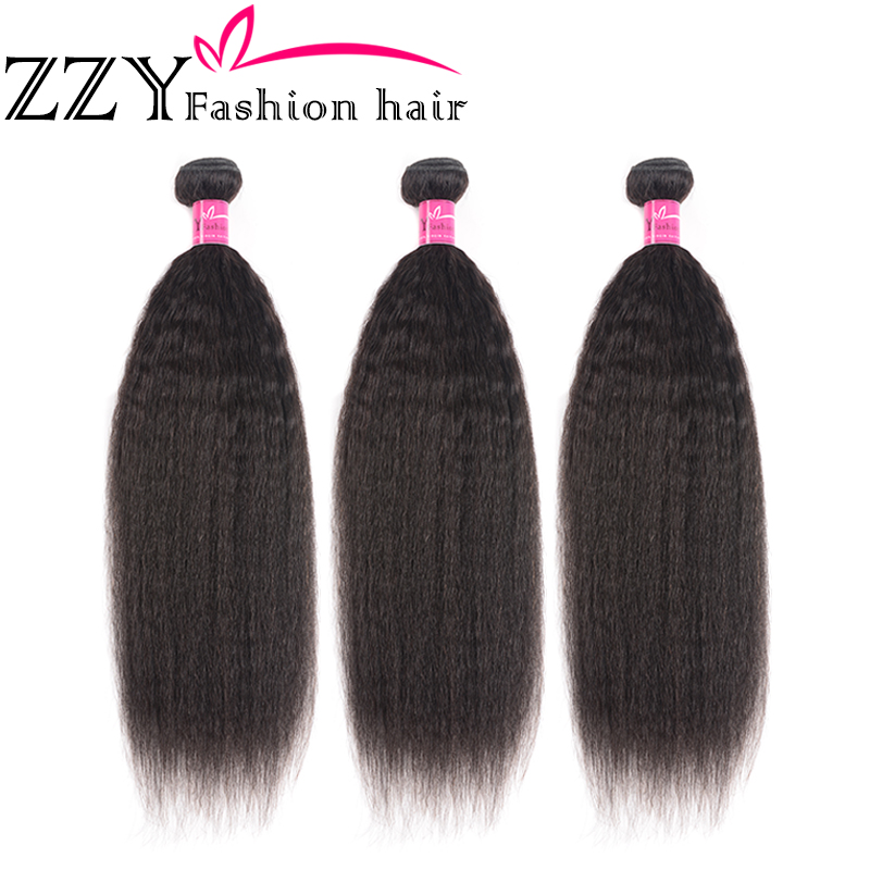 ZZY Fashion Hair Malaysian Yaki Straight Hair 3 Bundles Human Hair Weave Extensions Non-remy Hair Natural Color 10-28 Inch