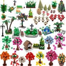 Moc cidade jardim árvore flor vaso conjunto planta blocos de construção brinquedos educativos presente da criança cidade amigo modelo accessorie brinquedo