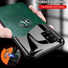 Coque de téléphone Samsung avec anneau magnétique en cuir, étui de voiture avec texture pour Galaxy A71 A51 71a 51 samsun A71 A51