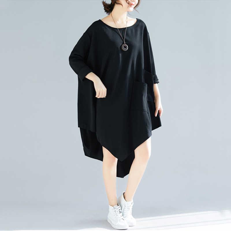 Oladivi/женские блузки больших размеров, черные осенние Рубашки 2019, повседневные свободные женские блузки с длинными рукавами больших размеров 8XL