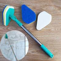 3 en 1 limpio alcance eje telescópico cepillo en ángulo fregadero Triangular almohadilla angular estropajo producto de limpieza para fregona limpiador