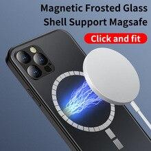 מגנטי מט זכוכית מקרה עבור iPhone 12 12 פרו מקסימום iPhone 12 מיני תמיכה עבור Magsafe מטען מגנטי טלפון מקרה