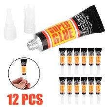12 pçs líquido super cola superfície insensível forte adesivo rápido ferramenta de cola instantânea de madeira metal vidro adesivo papelaria reparação