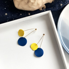 New Fashion Jewelry Yellow Blue Disc Earring Matte Coating Medium Two Tone Drop Earrings For Women Best Gift