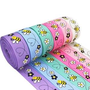 Лента для волос, 5 метров, 1 '', 25 мм, с принтом в виде маленькой пчелы, для рукоделия, вечерние кружевные ленты для декора