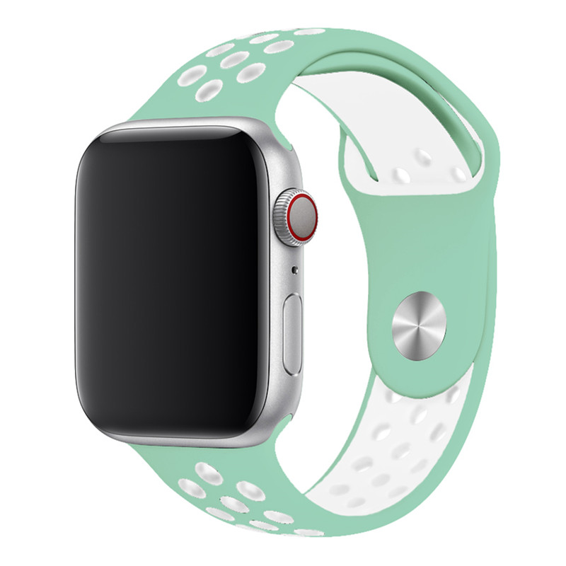Спортивный ремешок для apple watch band 44 мм/40 мм apple watch 5 4 3 band iwatch band 5 42 мм/38 мм correa браслет ремень аксессуары для часов - Цвет ремешка: lake green white