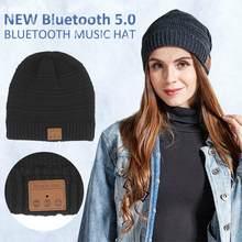 2019 جديد بلوتوث 5.0 سماعات قبعة سوبر لينة محبوك قبعة الموسيقى الأسود بلوتوث Brimless قبعة الموسيقى لفصل الشتاء الرياضة في الهواء الطلق