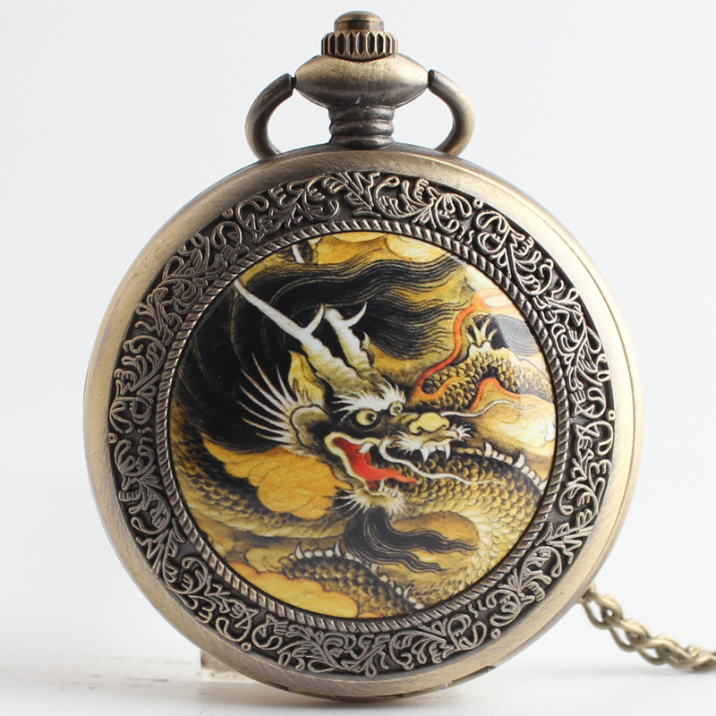 Pocket & Fob Watches  Vintage Bronze Dragon Phoenix Quartz Pocket Watch Pendant Chain Necklace For Women/Men Watch Gift