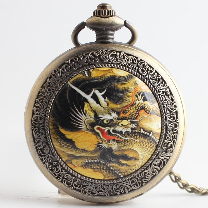 Pocket & Fob Watches  Vintage Bronze Dragon Phoenix Quartz Pocket Watch Pendant Chain Necklace For Women/Men Watch Gift
