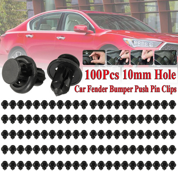 100PCS Black Plastic Rivet Car Fender Bumper Push Pin Clips 10mm Hole For Honda Wholesale Quick delivery CSV image