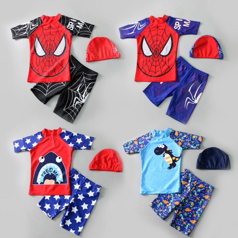 New Children Swimwear 3pcs Swimsuit Boys Kids Swimming Hat Short Sleeve bathSuit Swim Beach Wear