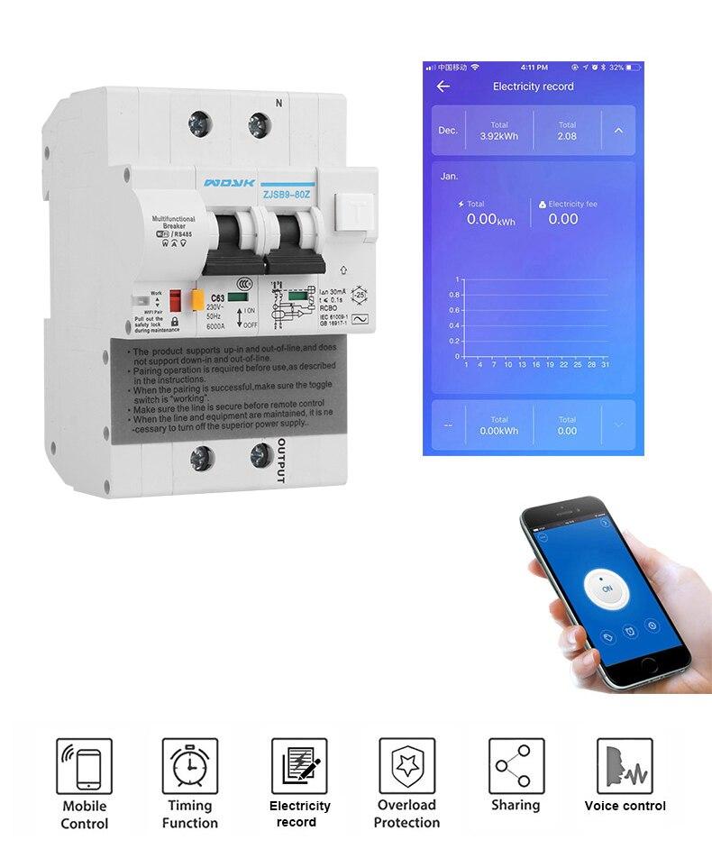 Interruptor inteligente wifi com proteção contra vazamento