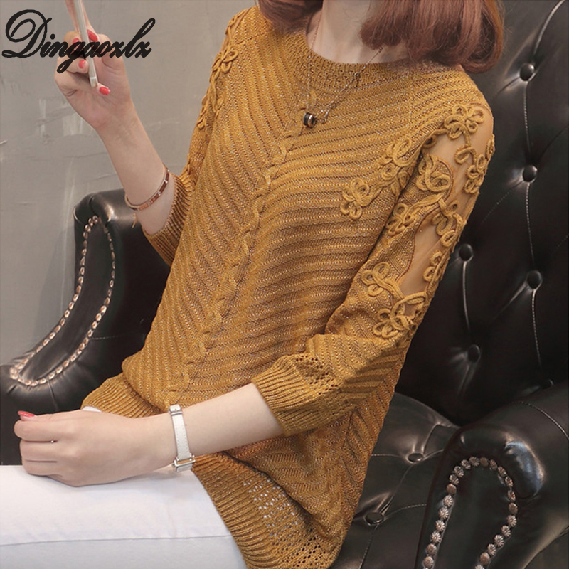 Dingaozlz Korean Style Women Sweater Sexy Lace Tops Spring Autumn Patchwork Embroidery Knitted Pullovers Shirt
