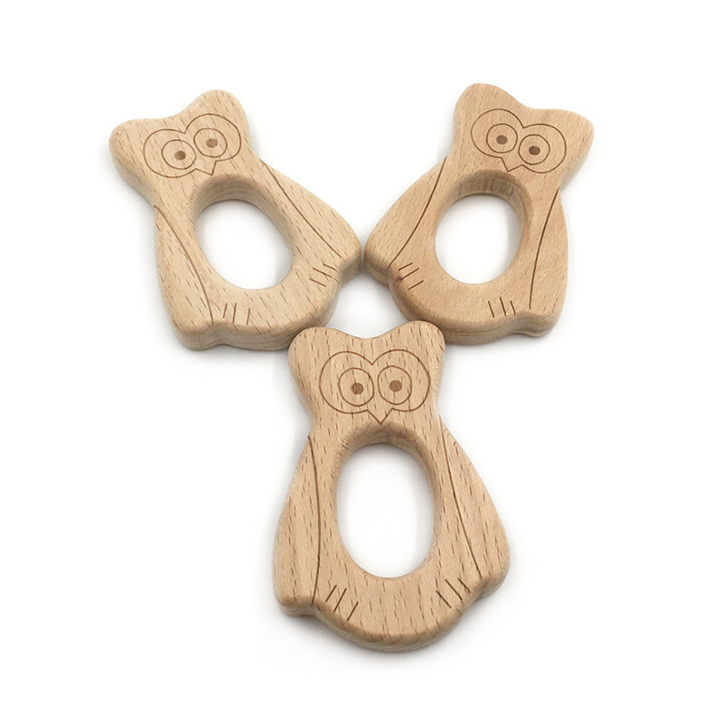 DIY Cartoon Animal Eagle Shape Baby Wooden Teether Food Grade Beech Pacifier Chain 3C Certification Wooden Baby Teether Toy Gift
