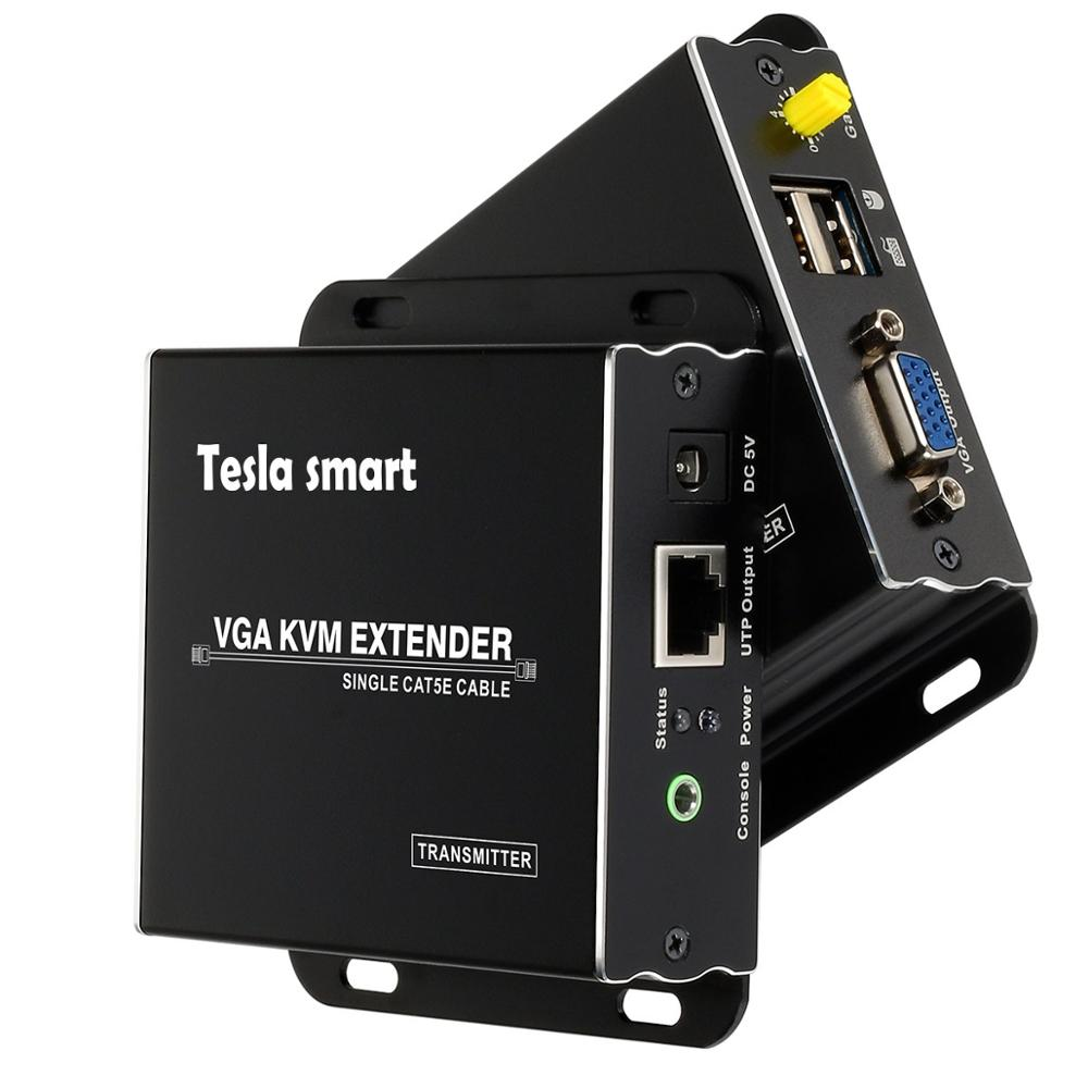 Tesla Smart 1080P 60Hz VGA KVM Extender Over CAT5 Via UTP FTP Up To 984ft Long Range (1 Extender TX+1 Extender RX)