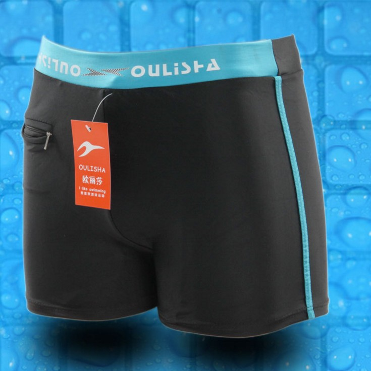 INS Hot Selling MEN'S Swimming Trunks Boxer High-waisted Built-in Zipper Pocket Conservative Bubble Hot Spring Swimsuit Beach