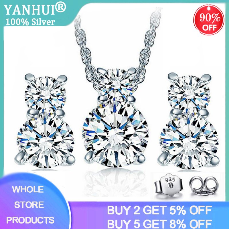 YANHUI Bride Fine Jewelry Set 925 Sterling Silver 5mm 0.5ct Zirconia Diamond Necklace&Earrings Set for Women Anniversary Gift