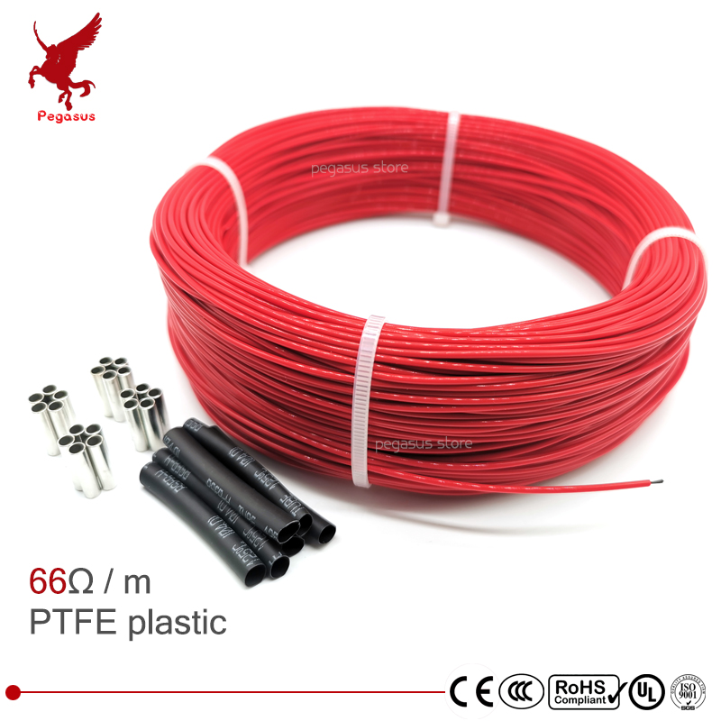 66ohm multipurpose 6k PTFE  carbon fiber heating cable 5V-220V floor heating  high quality infrared heating wire warm floor