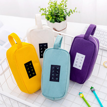 New Korean students simple text large capacity creative canvas pencil case