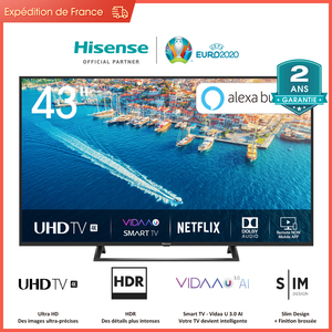 Hisense H43B7300 UHD 4K Smart TV 43 '', HDR 10 +, DVB-T2/C/S2, Netflix, Youtube, télécommande vocale Alexa intégré
