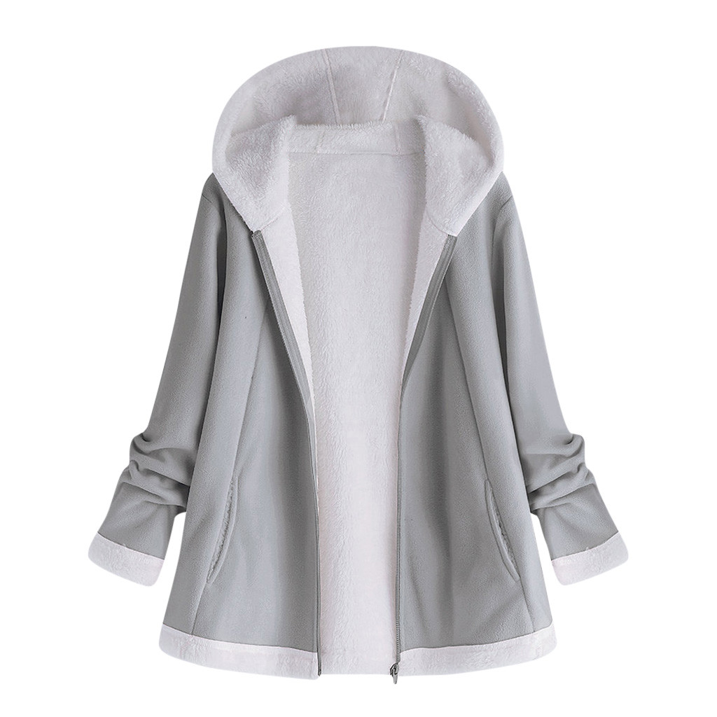 H52ecfc30e8c44e9a8219a568e937b171p women's autumn jacket Winter warm solid Plush Hoodie Coat Fashion Pocket Zipper Long Sleeves outwear manteau femme plus size 5XL