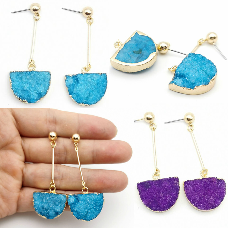 Natural Druzy Stud Earrings Semicircle Quartz Crystal Stone Gold Color Pendant Earring for Women Fashion Jewelry Gifts
