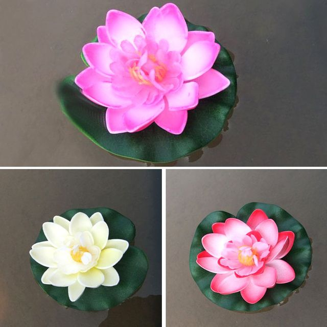 3 Pcs Floating Lotus Mixed Color Artificial Flower Lifelike Water Lily Micro Landscape for Wedding Pond Garden Fake Plants Decor 3