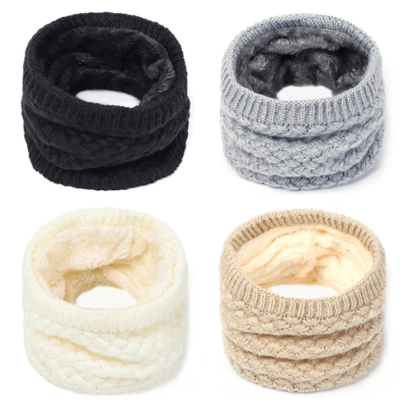 Knitted Scarf Neck Scarves Winter Women Men Thick Fleece Inside   Wool Collar Ring Scarf Elastic Knit Scarves Snood