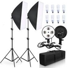 Освещение для фотосъемки 50x70 см четыре лампы софтбокс комплект E27 держатель с 8 шт. лампы софтбокс аксессуары для фотостудии видео