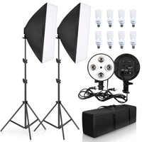 Fotografia de iluminação 50x70 cm quatro lâmpada softbox kit e27 suporte com 8 pçs lâmpada caixa macia accessoriesfor photo studio vídeo
