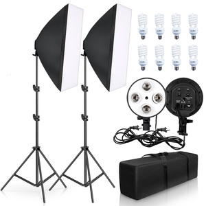 Photography Lighting 50x70CM Four Lamp Softbox Kit E27 Holder With 8pcs Bulb Soft Box AccessoriesFor Photo Studio Video(China)