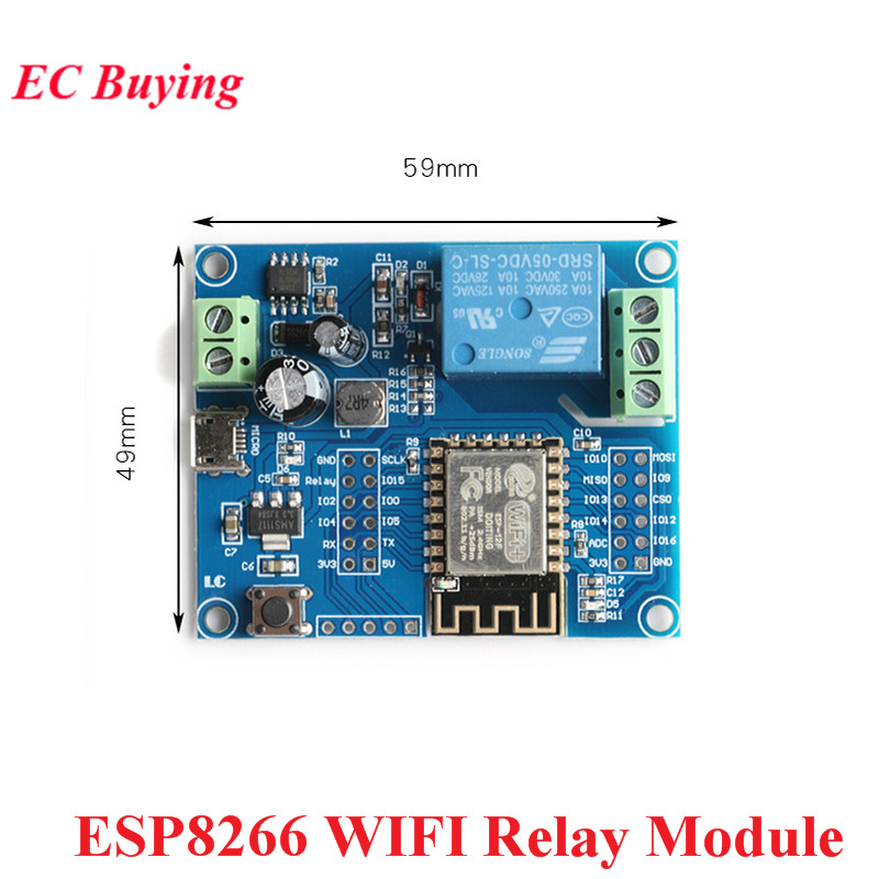 Беспроводной Wi-Fi релейный контроллер ESP8266, модуль головного устройства 5 В-80 В постоянного тока, одноканальная макетная плата ESP 12F для умного...