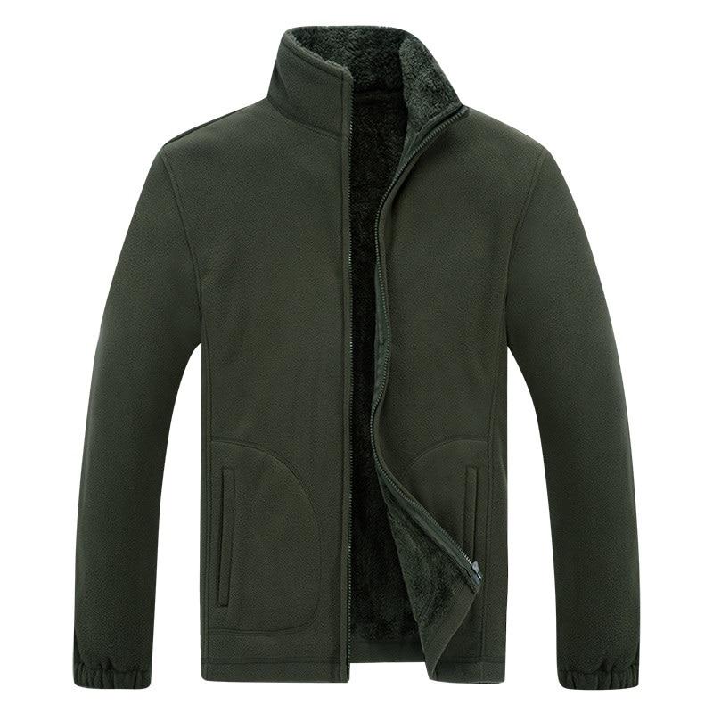 2019 Winter Jacket Men Soft Shell Fleece Warm Army Green Men Windbreaker Black Plus Size XL~6XL 7XL 8XL Coats Male