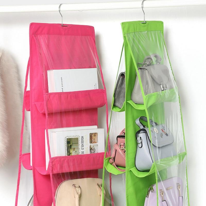 6 Pocket Hanging Handbag Organizer for Wardrobe Closet Transparent Storage Bag Door Wall Clear Sundry Shoe Bag with Hanger Pouch 4