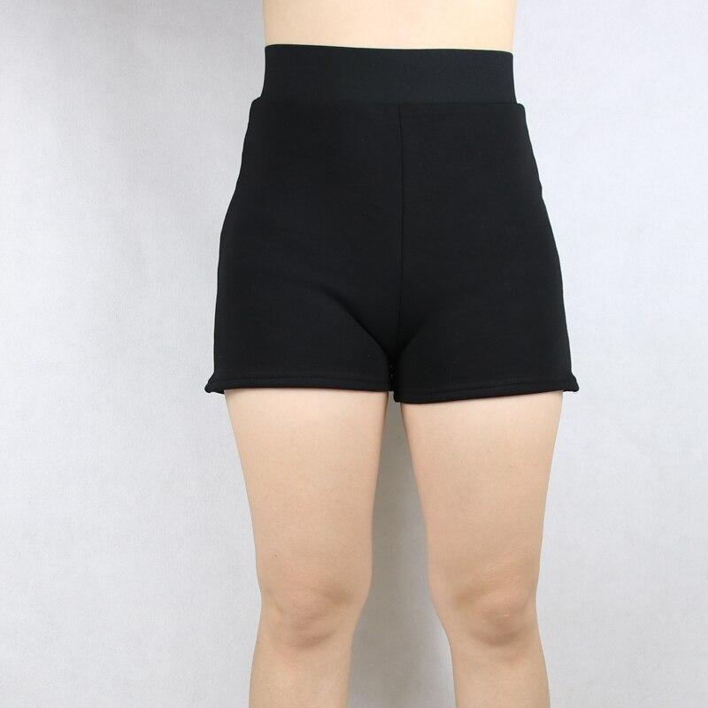 Babbytoro Women Shorts Bermuda 2019 High Waist Winter Warm Fleece Plus Velvet Thick Boot Cut Short Pants 7XL 6XL 5XL XS Black