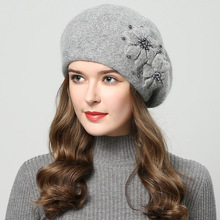 H7514 Autumn Winter Rabbit Fur Beret Hat Lady New Thickened Warm Fashion