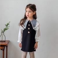 Vintage Kids Dress Long Sleeve Chiffon Buttons Girl Dress 4 5 6 8 10 11 12 years