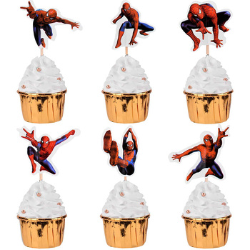 24pcs Spiderman Cupcake Toppers for Birthday Party Cartoon Disney spider-man Cake Decoration Supplies gifts toy