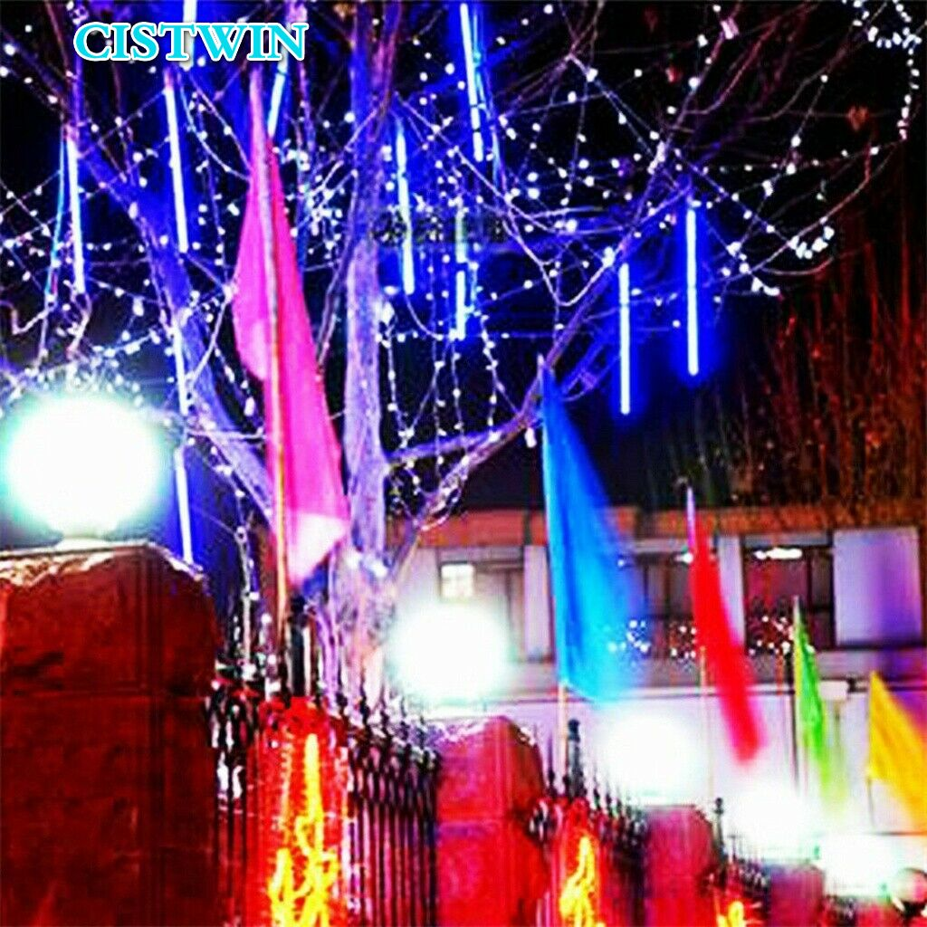 Christmas Light String Outdoor LED Light Meteor Rain Light Rain Drop Icicle Home Decoration Garden 30cm 8LED 4 Colors