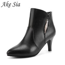 Winter female sexy high heel boots solid color pointed shallow mouth casual outd